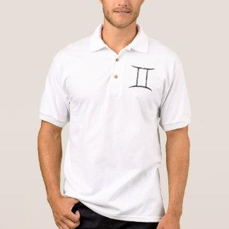 Gemini. Zodiac Astrology Sign. Black. Polo Shirt