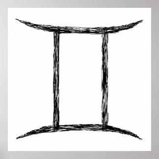 Gemini. Zodiac Astrology Sign. Black. Print