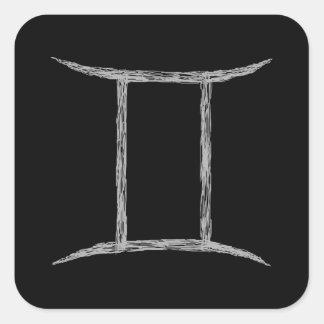 Gemini. Zodiac Astrology Sign. Black. Square Sticker
