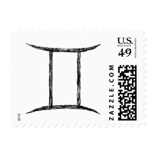 Gemini. Zodiac Astrology Sign. Stamp