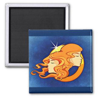 Gemini Zodiac Astrology Symbol 2 Inch Square Magnet