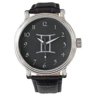 Gemini Zodiac-Black with Silver Horoscope Sign Wristwatch