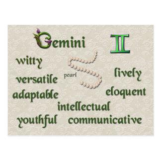 Gemini zodiac characteristics postcard