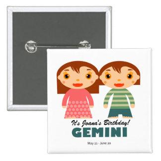 Gemini Zodiac for kids Pinback Buttons