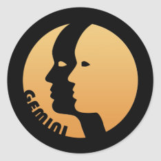 Gemini Zodiac Sign Classic Round Sticker at Zazzle