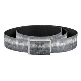 Gemini Zodiac Sign Grunge Distressed Silver Belt