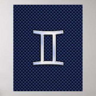 Gemini Zodiac Sign on Blue Carbon Fiber Style