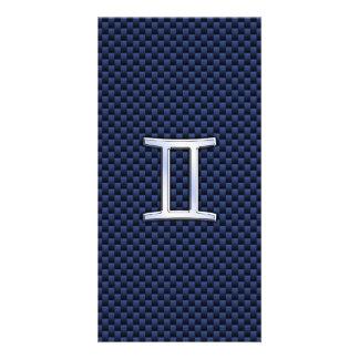 Gemini Zodiac Sign on Blue Carbon Fiber Style Card