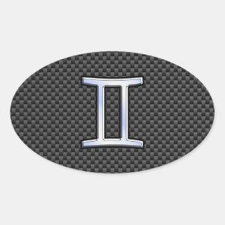Gemini Zodiac Sign on Charcoal Carbon Fiber Print Oval Sticker