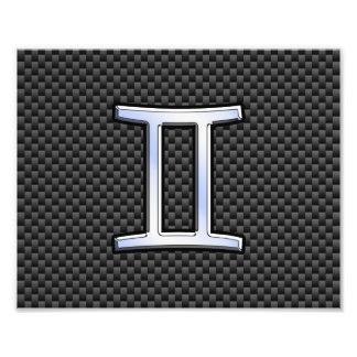 Gemini Zodiac Sign on Charcoal Carbon Fiber Print Photo Print