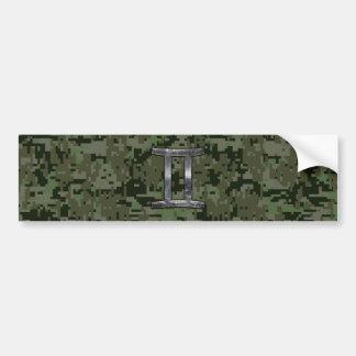 Gemini Zodiac Sign on Green Digital Camouflage Bumper Sticker