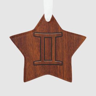Gemini Zodiac Sign on Mahogany like print