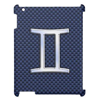 Gemini Zodiac Sign on Navy Blue Carbon Fiber Print Case For The iPad 2 3 4
