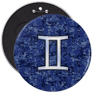 Gemini Zodiac Sign on Navy Blue Digital Camo 6 Inch Round Button
