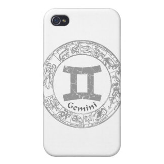 Gemini Zodiac sign vintage Cases For iPhone 4
