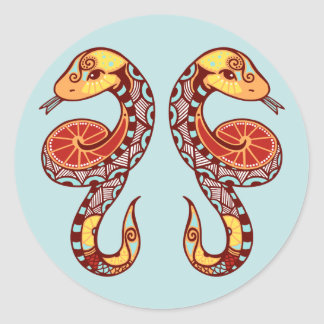 Gemini Zodiac - Snake Classic Round Sticker
