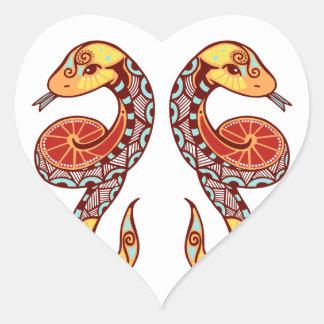 Gemini Zodiac - Snake Heart Sticker
