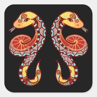 Gemini Zodiac - Snake Square Sticker