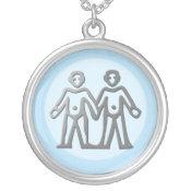 Gemini Zodiac Star Sign In Light Silver necklaces