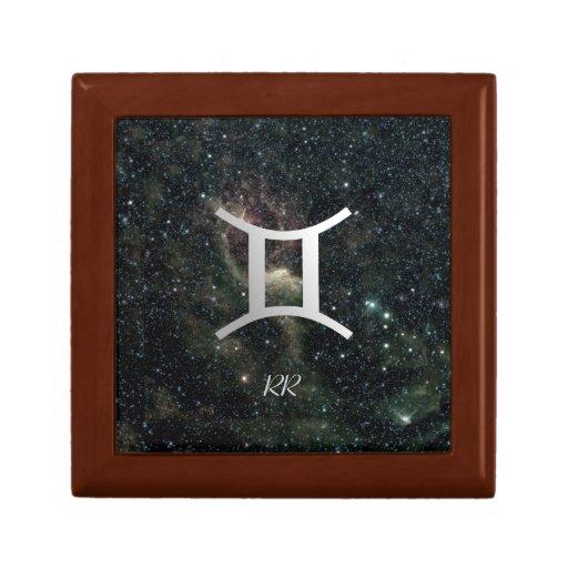 Gemini Zodiac Star Sign on Universe Trinket Boxes