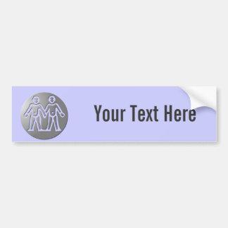 Gemini Zodiac Star Sign Premium Silver Bumper Sticker