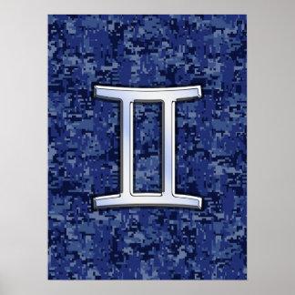 Gemini Zodiac Symbol Blue Digital Camouflage Poster