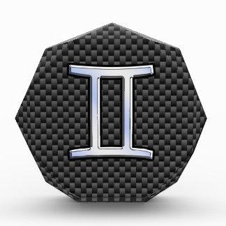 Gemini Zodiac Symbol Charcoal Carbon Fiber Style Acrylic Award