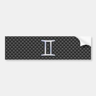 Gemini Zodiac Symbol Charcoal Carbon Fiber Style Bumper Sticker