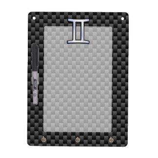 Gemini Zodiac Symbol Charcoal Carbon Fiber Style Dry-Erase Board