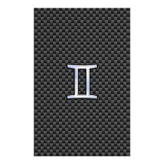 Gemini Zodiac Symbol Charcoal Carbon Fiber Style Stationery