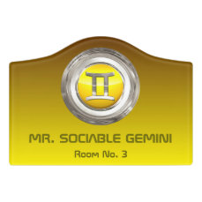 Gemini Zodiac Symbol Door Sign