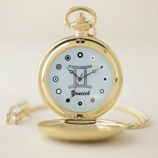 Gemini Zodiac Symbol Element (Bf) by K Yoncich Pocket Watch