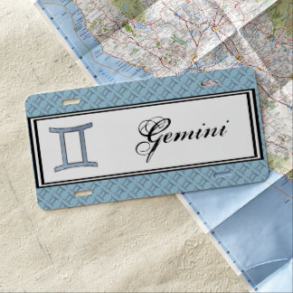 Gemini Zodiac Symbol Element by Kenneth Yoncich License Plate