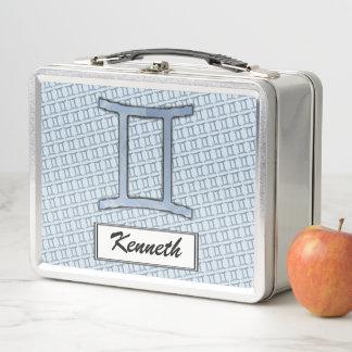 Gemini Zodiac Symbol Element by Kenneth Yoncich Metal Lunch Box