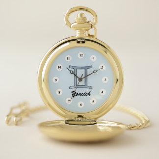 Gemini Zodiac Symbol Element (Cf) by K Yoncich Pocket Watch