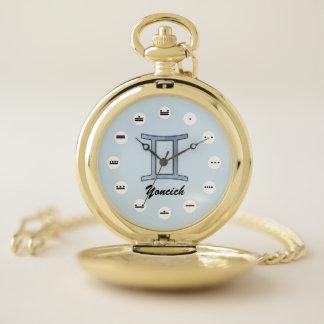 Gemini Zodiac Symbol Element (Mf) by K Yoncich Pocket Watch