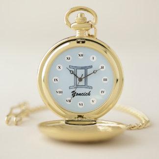Gemini Zodiac Symbol Element (Rf) by K Yoncich Pocket Watch