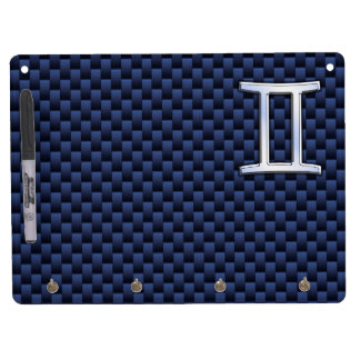 Gemini Zodiac Symbol Navy Blue Carbon Fiber Style Dry Erase Board With Keychain Holder