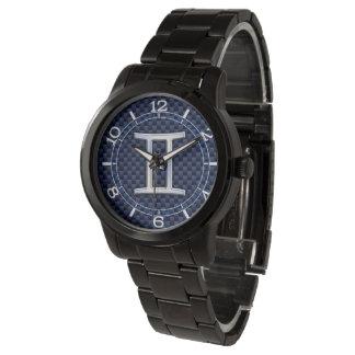 Gemini Zodiac Symbol Navy Blue Carbon Style Dial Wrist Watch