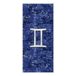 Gemini Zodiac Symbol on Navy Blue Digital Camo Rack Card