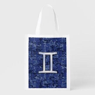 Gemini Zodiac Symbol on Navy Blue Digital Camo Reusable Grocery Bag