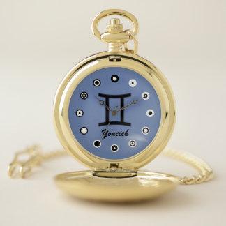Gemini Zodiac Symbol Standard (Bf) by K Yoncich Pocket Watch