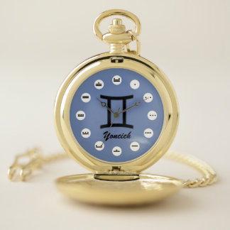 Gemini Zodiac Symbol Standard (Mf) by K Yoncich Pocket Watch