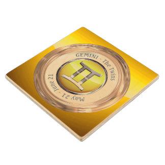Gemini Zodiac Symbol Wooden Coaster