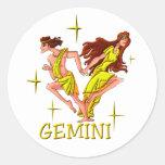Géminis 3 (estrellas) etiqueta redonda