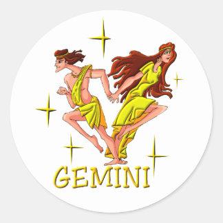 Géminis 3 (estrellas) pegatina redonda