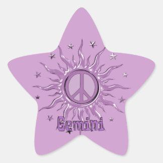 Géminis de Sun de la paz Pegatina En Forma De Estrella