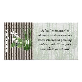 Géminis del bambú y del lirio tarjetas fotográficas personalizadas