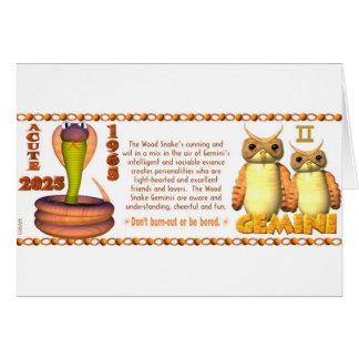 Géminis llevados serpiente de madera 1965 del zodi tarjeta de felicitación