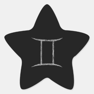 Géminis. Muestra de la astrología del zodiaco. Pegatina En Forma De Estrella